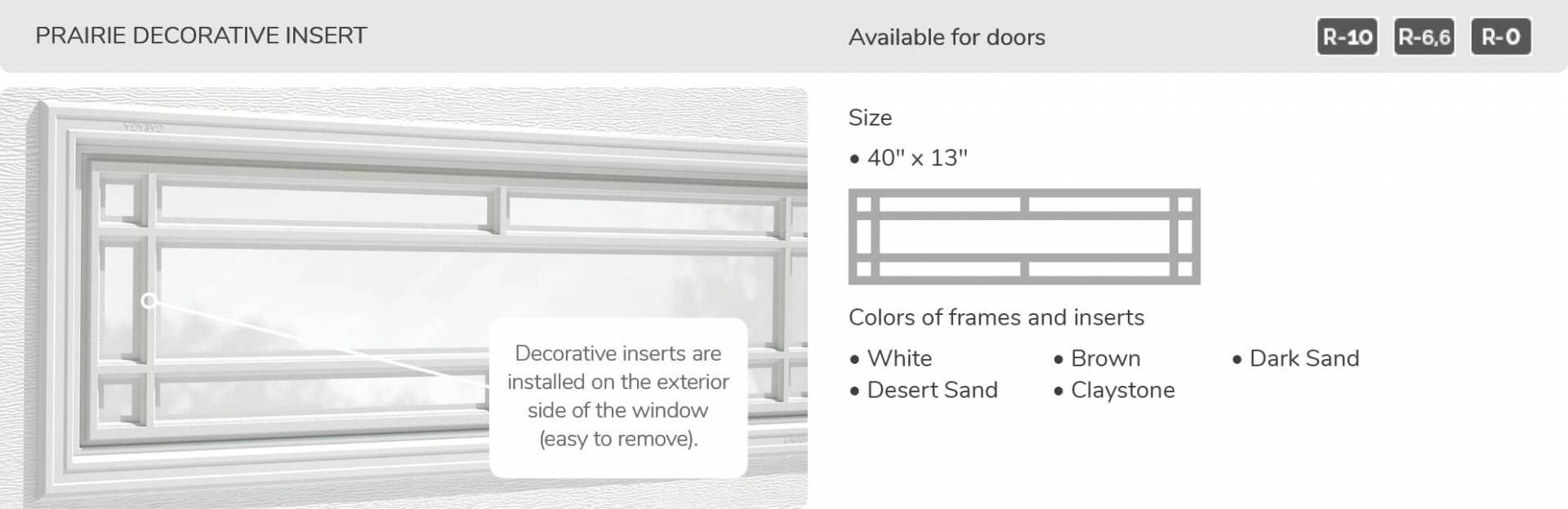 "Prairie Decorative Insert, 40"" x 13"", available for doors R-10, R-6.6, R-0"