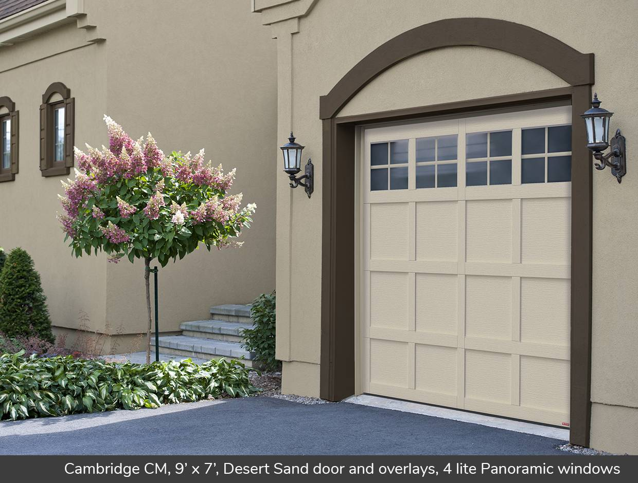Cambridge CM, 9' x 7', Desert Sand door and overlays, 4 lite Panoramic windows
